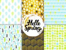 Wiosny natury Ostrzy Bezszwowi wzory Obrazy Royalty Free