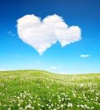 Wiosny niebieskie niebo z bielem i łąka chmurniejemy w postaci serca Obrazy Stock
