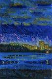 Wiosny noc na brzeg miasta jezioro Obraz olejny na canva ilustracja wektor
