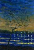 Wiosny noc na brzeg miasta jezioro Obraz olejny na canva royalty ilustracja