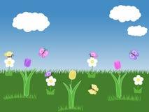 Wiosny ogrodowy tło z tulipanów motyli niebieskiego nieba zielonej trawy białymi kwiatami i chmurami ilustracyjnymi Fotografia Royalty Free