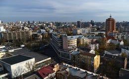 Wiosny panorama Kijowski linia horyzontu od bird& x27; oko widok fotografia stock