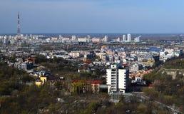 Wiosny panorama Kijowski linia horyzontu od bird& x27; oko widok obraz royalty free