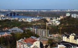 Wiosny panorama Kijowski linia horyzontu od bird& x27; oko widok zdjęcia royalty free