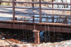 Wiosny powódź biega footbridge w parku Grże i sunn Obrazy Royalty Free