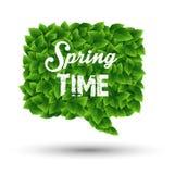 Wiosny powitanie w mowa bąblu zieleni liście Obrazy Royalty Free