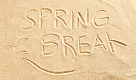 Wiosny przerwa i seagulls rysujący w plażowym piasku Obrazy Stock