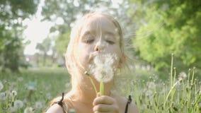 Wiosny rado?? - uroczej dziewczyny podmuchowy dandelion Pi?kna ?liczna dziewczyna w s?onecznym dniu przy zielonym natury t?em zbiory