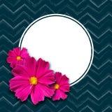 Wiosny round pusty sztandar na elementu zmroku zygzag tła liniach i różowy stokrotka kwiatów sztandar projektujemy element dla wi ilustracja wektor