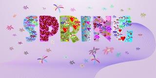 Wiosny słowo z flouered listami Plakat dla wiosny ilustracji