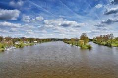 Wiosny sceneria przy zbieżnością rzeki Labe i Ohre od bridżowego Tyrsuv najwięcej w Litomerice mieście w republika czech Fotografia Stock