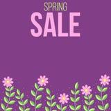 Wiosny sprzedaż kwitnie sztandar w purpurach ilustracja wektor