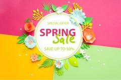 Wiosny sprzedaż Sztandar, ulotka, zaproszenie, plakaty, broszurka alegata rabata reklamy cięcie od papieru Zdjęcia Stock