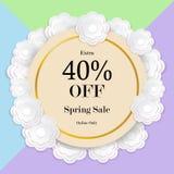 Wiosny sprzedaży kolorowy tło z papieru rżniętym kwiatem, wektor il Obraz Stock