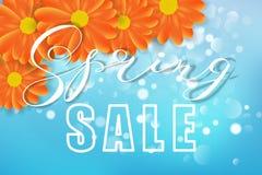 Wiosny sprzedaży pojęcie Kwiatów, bokeh, błękita i pomarańcze kolory, również zwrócić corel ilustracji wektora royalty ilustracja