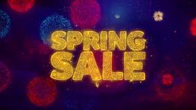 Wiosny sprzedaży powitania teksta błyskotania cząsteczki na Barwionych fajerwerkach