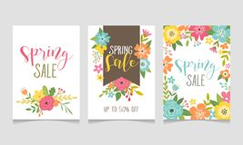 Wiosny sprzedaży sieci sztandaru kolekcja royalty ilustracja