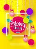 Wiosny sprzedaży sztandar Piękny tło z girlandą serca, kwitnie i ono kłania się Wektorowa ilustracja dla strony internetowej, pla Fotografia Stock