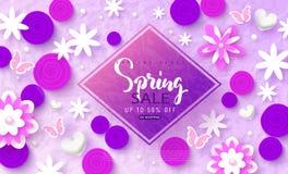 Wiosny sprzedaży sztandar Piękny tło z kwiatami i motylami Wektorowa ilustracja dla strony internetowej, plakatów, emaila i newsl Obraz Royalty Free