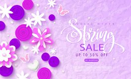 Wiosny sprzedaży sztandar Piękny tło z papierowymi kwiatami i motylami Wektorowa ilustracja dla strony internetowej, plakaty, ema Obraz Stock