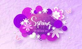 Wiosny sprzedaży sztandar Piękny tło z papierowymi kwiatami i motylami Wektorowa ilustracja dla strony internetowej, plakaty, ema Fotografia Stock