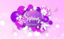Wiosny sprzedaży sztandar Piękny tło z papierowymi kwiatami i motylami Wektorowa ilustracja dla strony internetowej, plakaty, ema Obrazy Stock