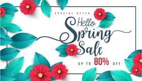 Wiosny sprzedaży sztandar z kwiatami, liściem i kolorowym tłem, zdjęcie stock