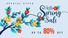 Wiosny sprzedaży sztandar z kwiatami, liściem i kolorowym tłem, fotografia stock