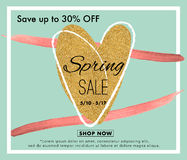 Wiosny sprzedaży tła sztandar z sercem Fotografia Stock