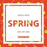 Wiosny sprzedaży tło z pięknym kwiatem, wektorowy illustratio Fotografia Stock