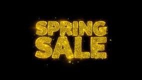 Wiosny sprzedaży typografia pisać z złotymi cząsteczkami iskrzy fajerwerki