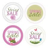 Wiosny sprzedaży ikon odznaki lub majchery Ilustracja Wektor