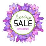 Wiosny sprzedaży promo sztandaru krokus kwitnie wianek Obrazy Stock