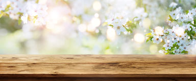 Wiosny tło z drewnianym stołem Obrazy Royalty Free