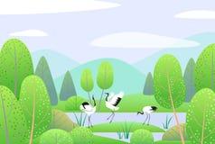 Wiosny tło z Japońskimi żurawiami i krajobrazem ilustracja wektor