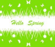 Wiosny tło z kwiatem, motylami i trawy sylwetką, Fotografia Stock