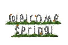 Wiosny tło z mile widziany wiosną podpisuje wewnątrz trawy Obrazy Stock