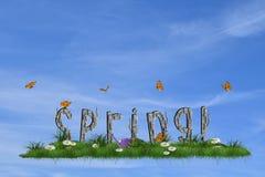 Wiosny tło z wiosną podpisuje wewnątrz trawy Obrazy Stock