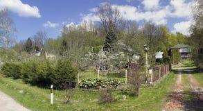 Wiosny wioski skrzyżowanie ulicy Obrazy Stock