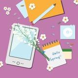 Wiosny workspace ilustracja ilustracji