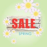 Wiosny wyrażenie z kwiatami na drewnianej desce Obraz Royalty Free