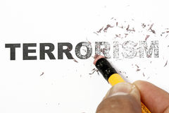 Wiped out Terrorism. Concept - eraser and word terrorism erased Stock Images