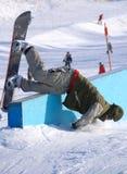 Wipeout do Snowboarder foto de stock
