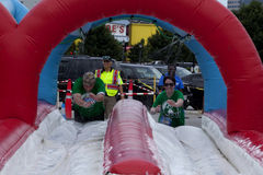 Wipeout 5K Run obstacles course - Foam of Fury Royalty Free Stock Images