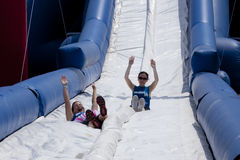 Wipeout 5K Run obstacles course - happy endings Stock Photo