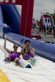 Wipeout 5K Run obstacles course - happy endings Stock Image