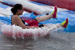 Wipeout 5K Run obstacles course - tumble tubes Stock Photos