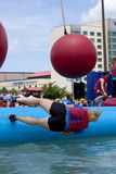 Wipeout 5K Run obstacles course - wrecking balls Stock Photography