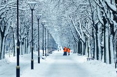 Wipers in orange vests are walking along a snowy alley royalty free stock images