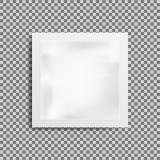 Wipes фольги реалистического белого пустого шаблона упаковывая влажные Кофе упаковки еды, соль, сахар, перец, специи, помадки изо иллюстрация штока